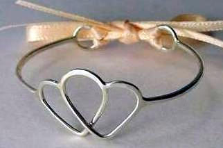 Sterling silver double heart baby bracelet with ribbon